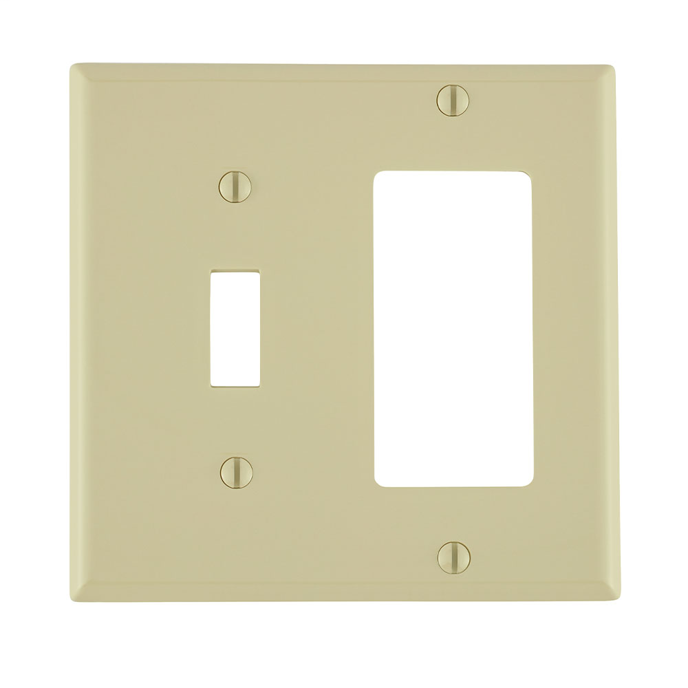 Leviton 80707-I 4.56 x 0.22 x 4.5 Inch 2-Gang Smooth Ivory Thermoplastic Nylon Device Mount Standard Combination Wallplate