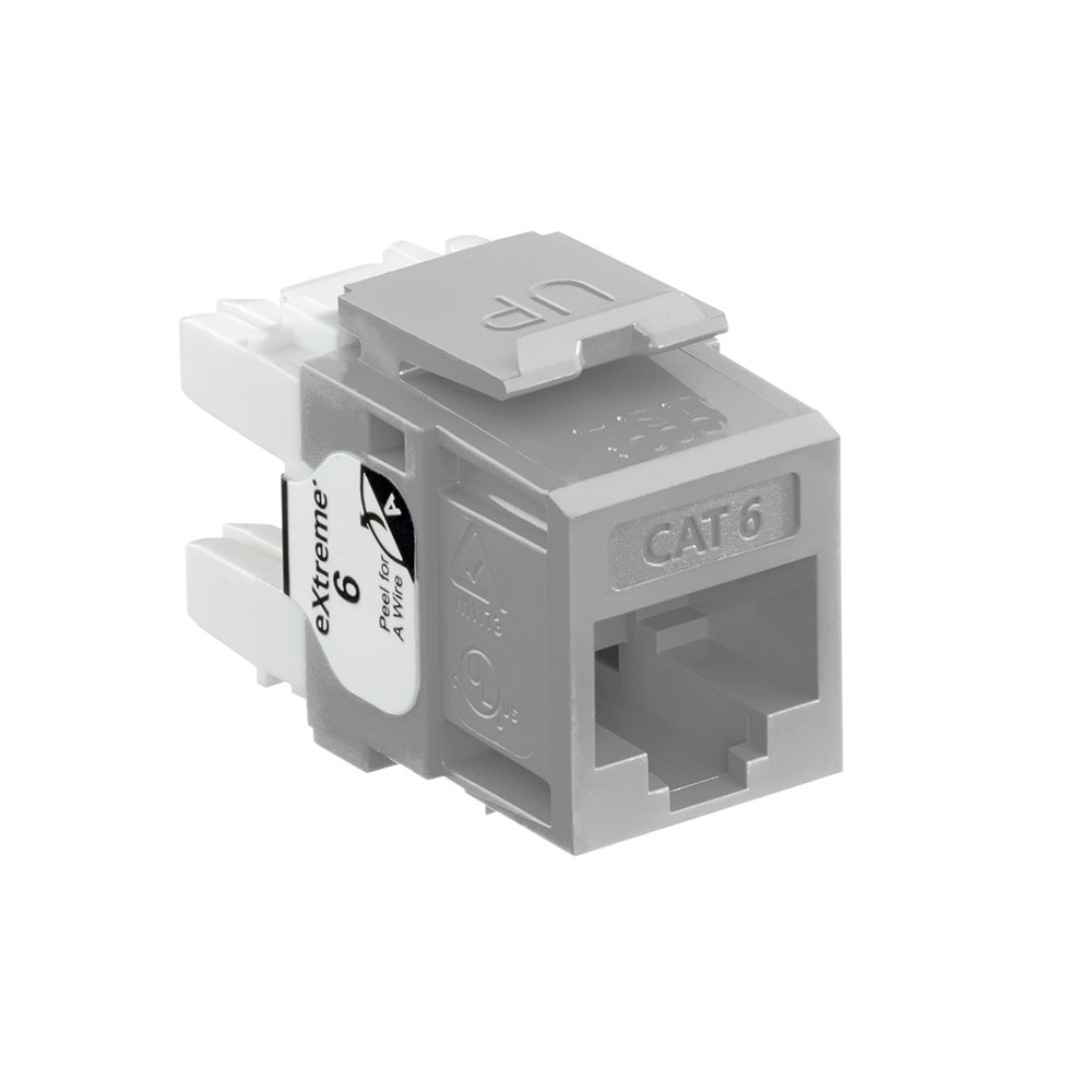 Leviton 61110-RG6 Category 6 Gray Plastic Snap-In 8-Position 8-Conductor UTP Jack Modular Connector