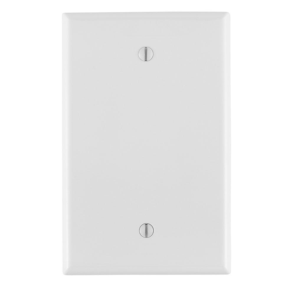 Leviton PJ13-W 3.125 x 0.255 x 4.875 Inch 1-Gang Smooth White Thermoplastic Nylon Box Mount Midway Blank Wallplate