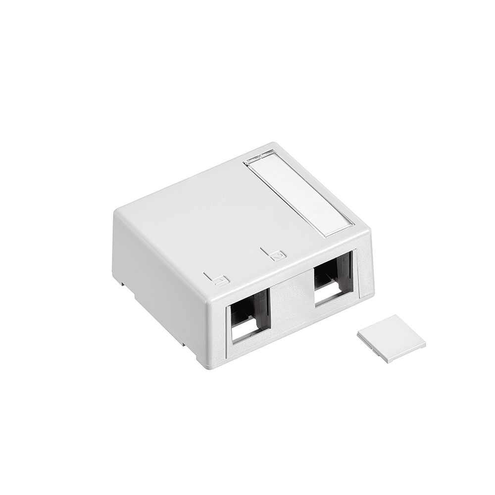 Leviton 41089-2WP 2.52 x 2.22 x 1.1 Inch 2-Port White Plastic Surface Mount Connector Module Box