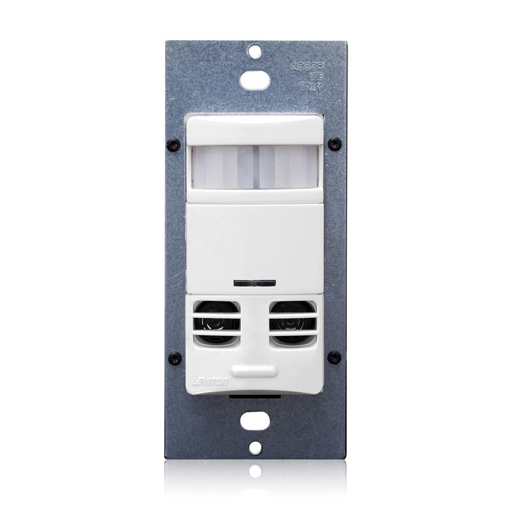 Leviton OSSMT-GDW 120 to 277 VAC 1-Pole 1/4 Hp White Passive Infrared/Ultrasonic Wall Switch Occupancy Sensor