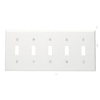 Leviton 80723-W 5-Gang Toggle Device Mount Switch Standard Size Thermoplastic Nylon White Wallplate