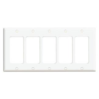 5-Gang Decora/GFCI Device Decora Wallplate/Faceplate, Standard Size, Thermoset, Device Mount - White
