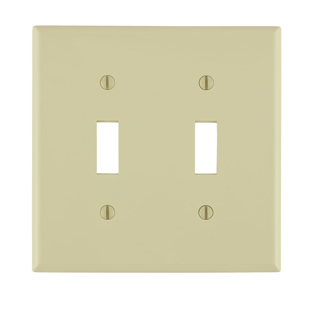Leviton 80709-I 4.56 x 0.22 x 4.5 Inch 2-Gang Smooth Ivory Thermoplastic Nylon Device Mount Standard Toggle Switch Wallplate