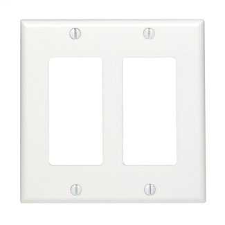 2-Gang Decora/GFCI Device Decora Wallplate/Faceplate, Standard Size, Thermoset, Device Mount - White