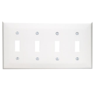 Leviton 80712-W 8.19 x 0.22 x 4.5 Inch 4-Gang Smooth White Thermoplastic Nylon Device Mount Standard Toggle Switch Wallplate