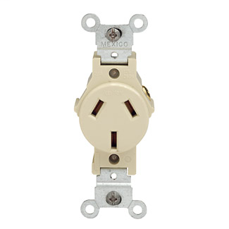 Single Receptacle Outlet, Commercial Specification Grade, Dual Voltage, Smooth Face, 20 Amp, 125/250 Volt, Side Wire, NEMA 10-20R, 2-Pole, 3-Wire, Self-Grounding - White