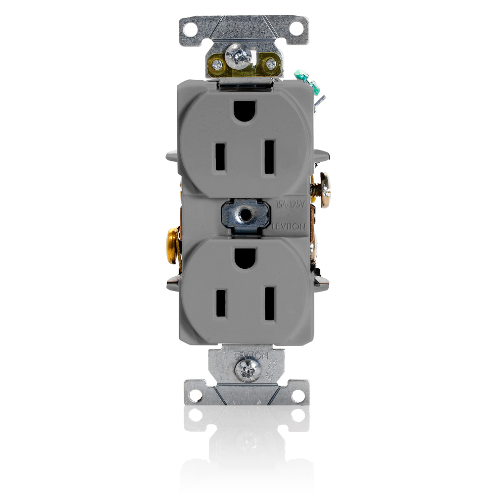 Duplex Receptacle Outlet, Heavy-Duty Industrial Specification Grade, Smooth Face, 15 Amp, 125 Volt, Back or Side Wire, NEMA 5-15R, 2-Pole, 3-Wire, Self-Grounding - Gray