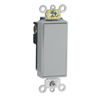 Leviton 5691-2GY 15 Amp 120/277 Volt Decora Plus Rocker 1-Pole Grey AC Quiet Switch