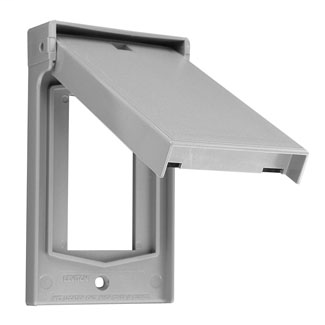 Leviton 4998-W 1-Gang Decora/GFCI Weather-Resistant Thermoplastic Vertical Self Closing Lid White Device Wallplate