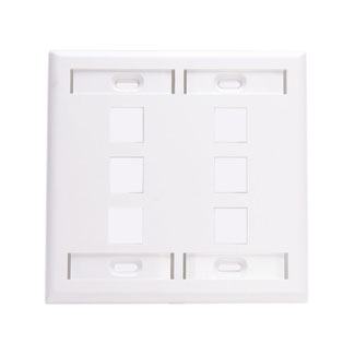 LEVITON 42080-6WP WHITE 6-PORT 2-GANG WALLPLATE W/ 4 LABELS
