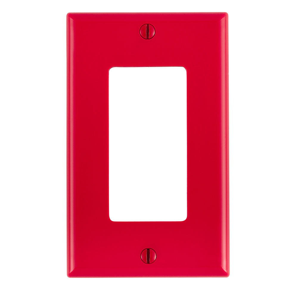 1-Gang Decora/GFCI Device Decora Wallplate/Faceplate, Standard Size, Thermoplastic Nylon, Device Mount, - Red