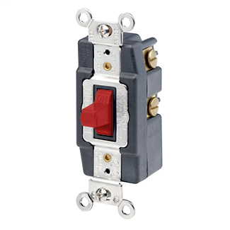 20 Amp, 120/277 Volt, Toggle Double-Throw Ctr-OFF Momentary Contact Single-Pole AC Quiet Switch, Industrial Grade, Grounding, Back & Side Wired - RED