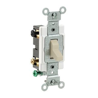 15 Amp, 120/277 Volt, Toggle 4-Way AC Quiet Switch, Commercial Spec Grade, Grounding, Side Wired, - Ivory