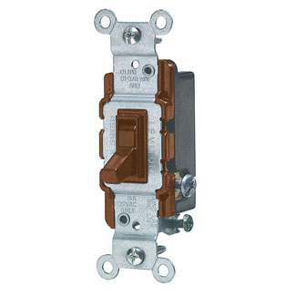 Leviton 1453-2 120 VAC 15 Amp 1/2 Hp 3-Way Brown Thermoplastic Grounding Framed Toggle Quiet Switch