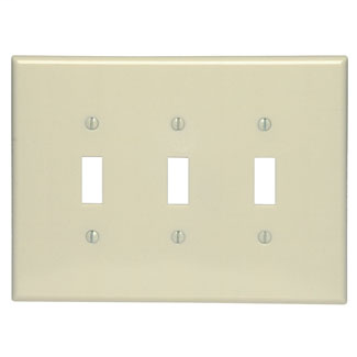 Leviton 86111 3-Gang Toggle Device Mount Switch Oversized Thermoset Ivory Wallplate