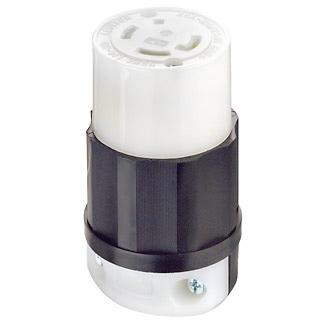 Leviton 2733 480 Volt 3-Phase 30 Amp 3-Pole 4-Wire NEMA L16-30R Black/White Nylon Grounding Locking Connector