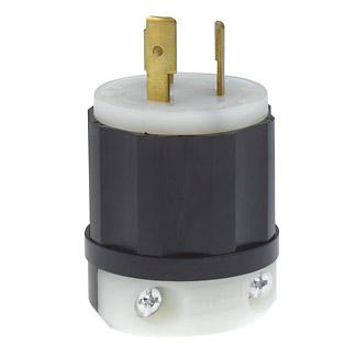 Leviton 2361 20 Amp 125/250 Volt NEMA L10-20P 3-Pole 3 Wire Industrial Grade Non-Grounding Black/White Locking Plug
