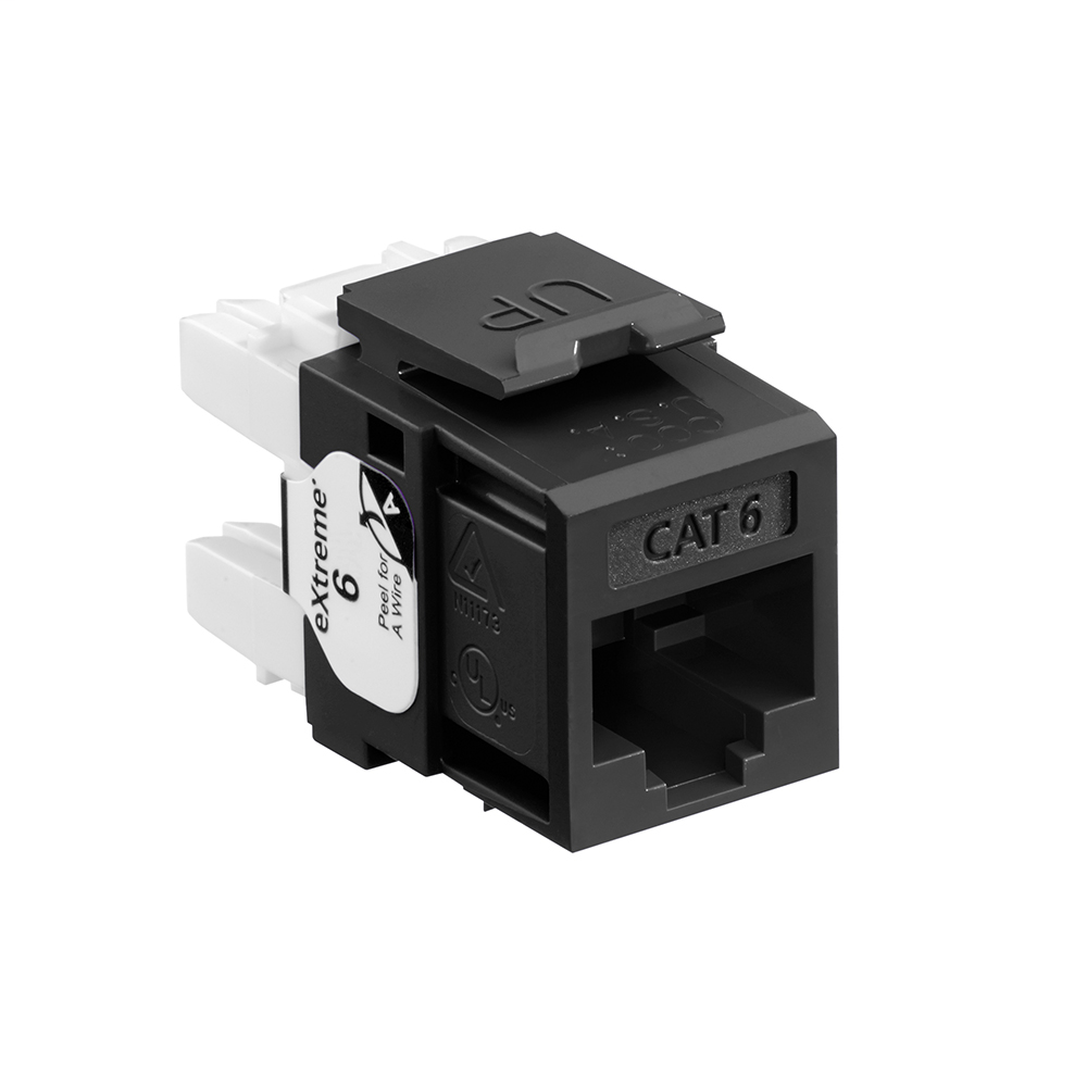Leviton 61110-RE6 Category 6 Black Plastic Snap-In 8-Position 8-Conductor UTP Jack Modular Connector