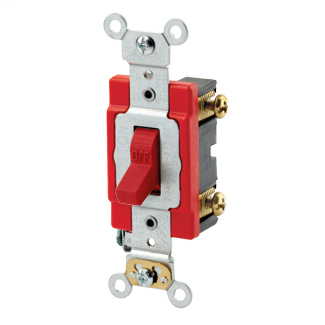 20 Amp, 120/277 Volt, Toggle Single-Pole AC Quiet Switch, Extra Heavy Duty Spec Grade, Self Grounding, Back & Side Wired - RED