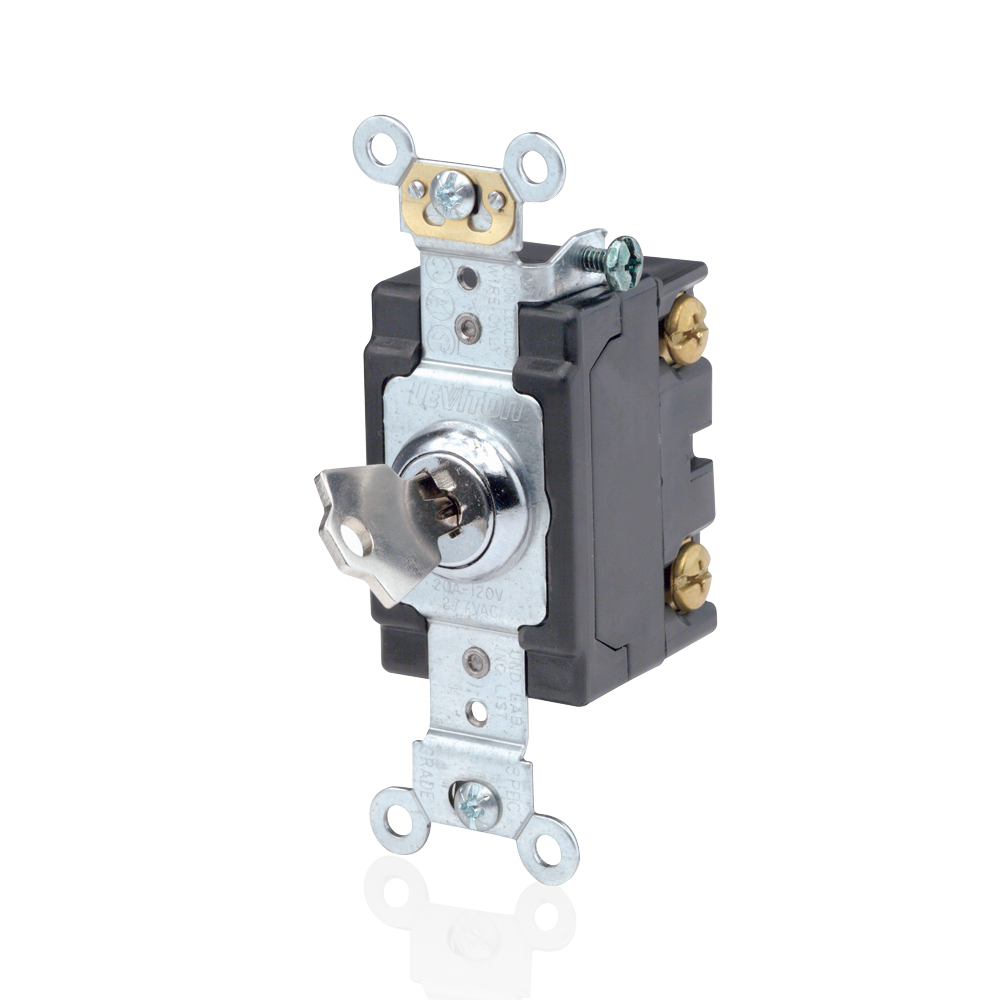 Leviton 1221-2KL 120/277 VAC 20 Amp 1-Pole 2 Hp Chrome Thermoplastic Self Grounding Keyed Locking Quiet Switch
