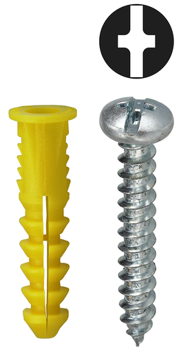 Item # 2AKTP, (2AKTP) Yellow Phillips/Slotted Drive Wing Screw Anchor