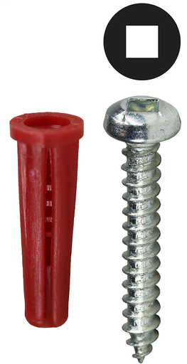 Item # K7DCTP, (K7DCTP) Red Collar Square Drive Screw Anchor
