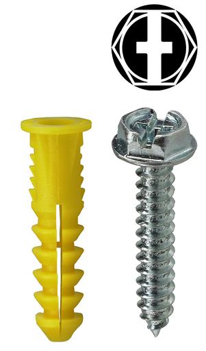 Item # 2AKHXTP, (2AKHXTP) Yellow Hexagonal/Phillips/Slotted Drive Wing Screw Anchor