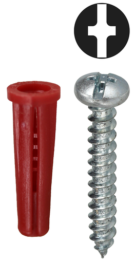 Item # K14CTP, (K14CTP) Red Collar Phillips/Slotted Drive Screw Anchor