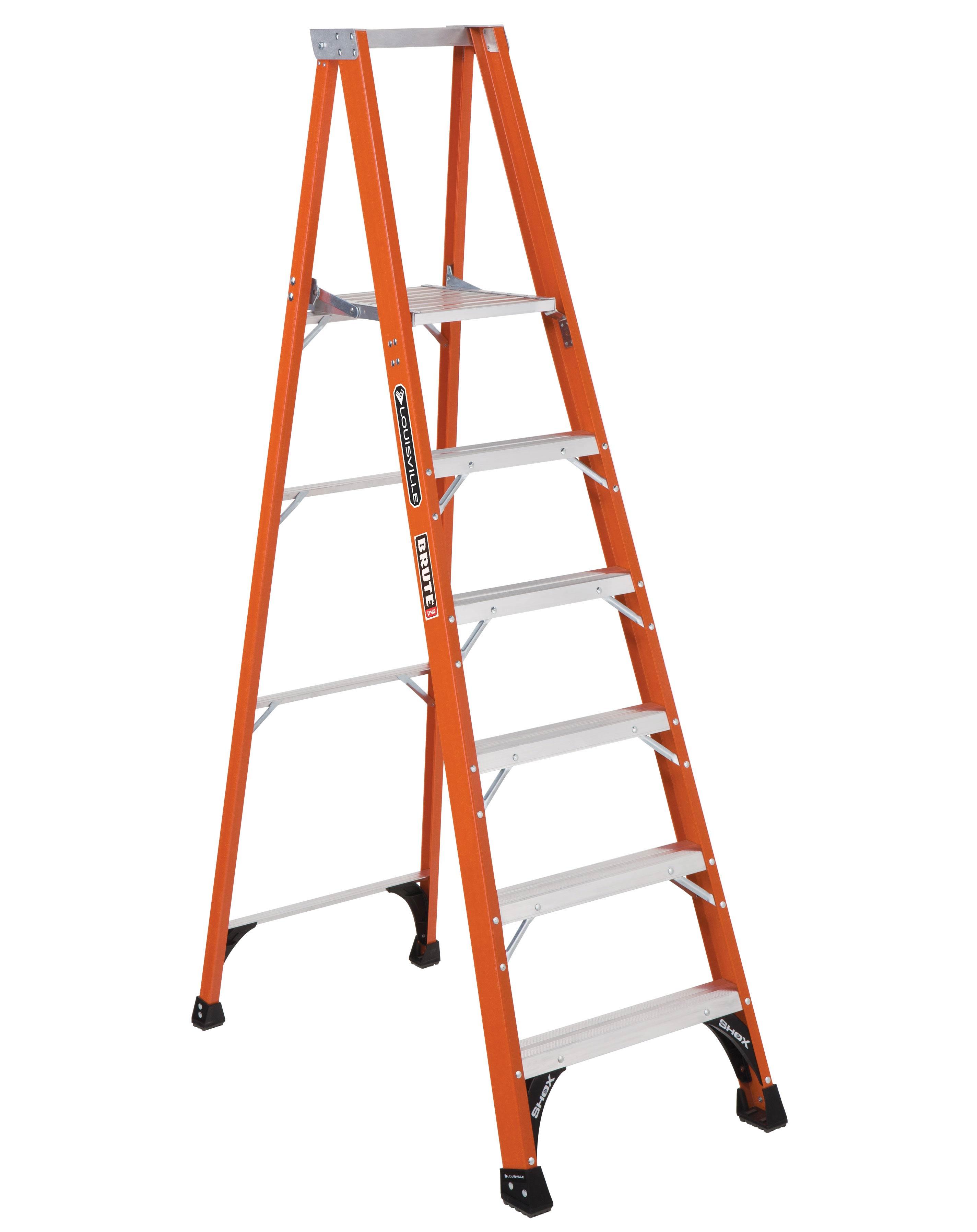 Louisville Ladder FP1406HD 6 Foot 375 lb Duty Rating Fiberglass Platform Ladder
