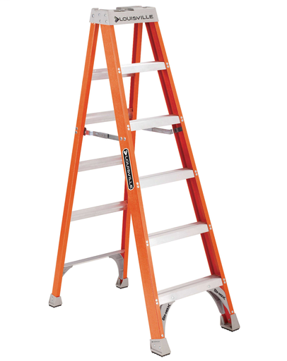 LOUISVILLE FS1506 6FOOT TYPE 1A 300LB RATED FIBERGLASS STEP LADDER CONTRACTOR GRADE
