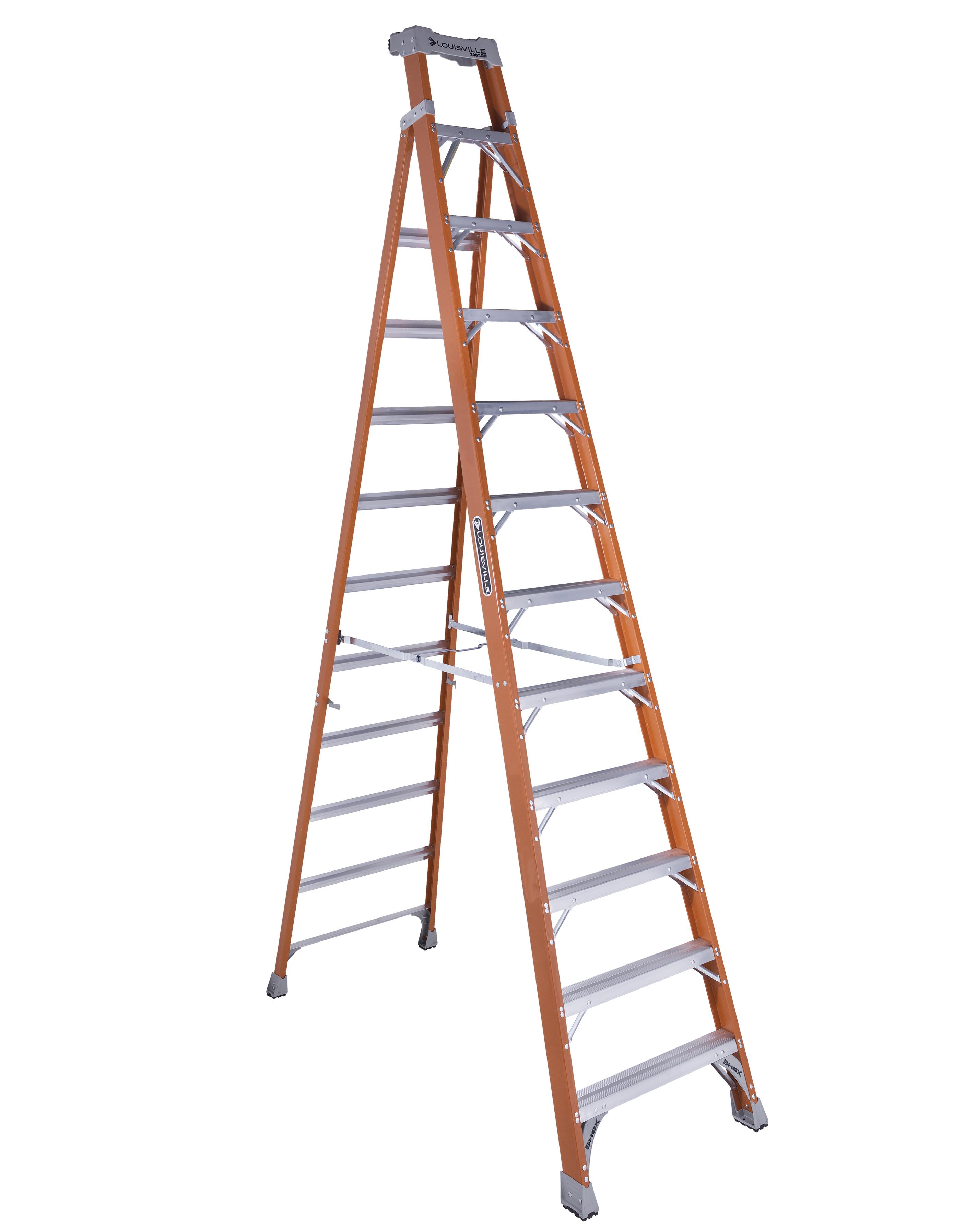 Louisville Ladder FXS1512 12 Foot Orange Fiberglass Step/Shelf Ladder