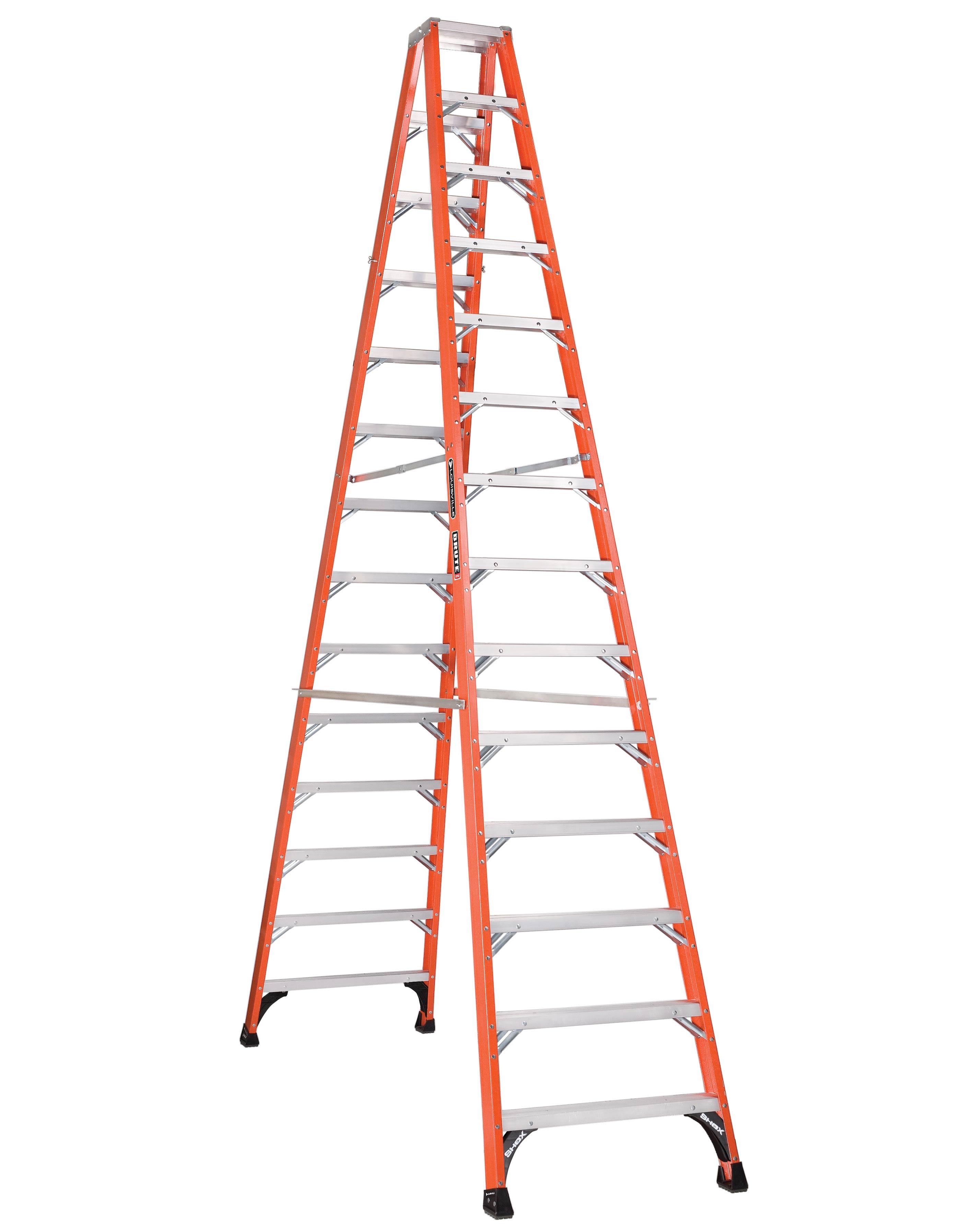 Louisville Ladder FM1414HD 14ft Fiberglass Twin Step Ladder, Type IAA FG, 375lb Load Capacity