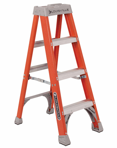 LOUISVILLE FS1504 4FOOT TYPE 1A 300LB RATED FIBERGLASS STEP LADDER CONTRACTOR GRADE