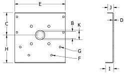 """12TEF6-BB-P12"""" x 3"""" Shaft Outside Trough End W/ ft."""
