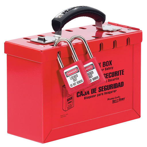 Master Lock 498A Portable Group Red Lock Box, Latch Tight, 9-1/4 x 3-3/4 x 6 Inch, Accomodates Up to 12 Workers