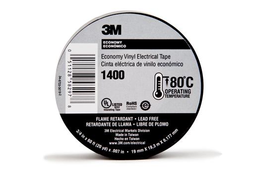Mayer-3M™ Economy Vinyl Electrical Tape 1400C, 3/4 in x 60 ft, 1-1/2 in Core,Gray, 10 rolls/carton, 100 rolls/Case-1