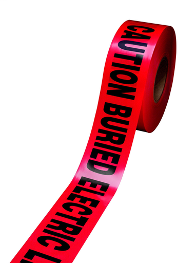 Mayer-Scotch® Buried Barricade Tape 303, CAUTION BURIED ELECTRIC LINE BELOW, 3in x 300 ft, Red, 16 rolls/Case-1