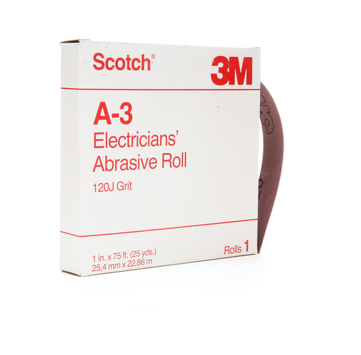 Scotch® Electrician's Abrasive Roll A-3, 1 in x 25 yd, 120 J-weight, 10rolls per case