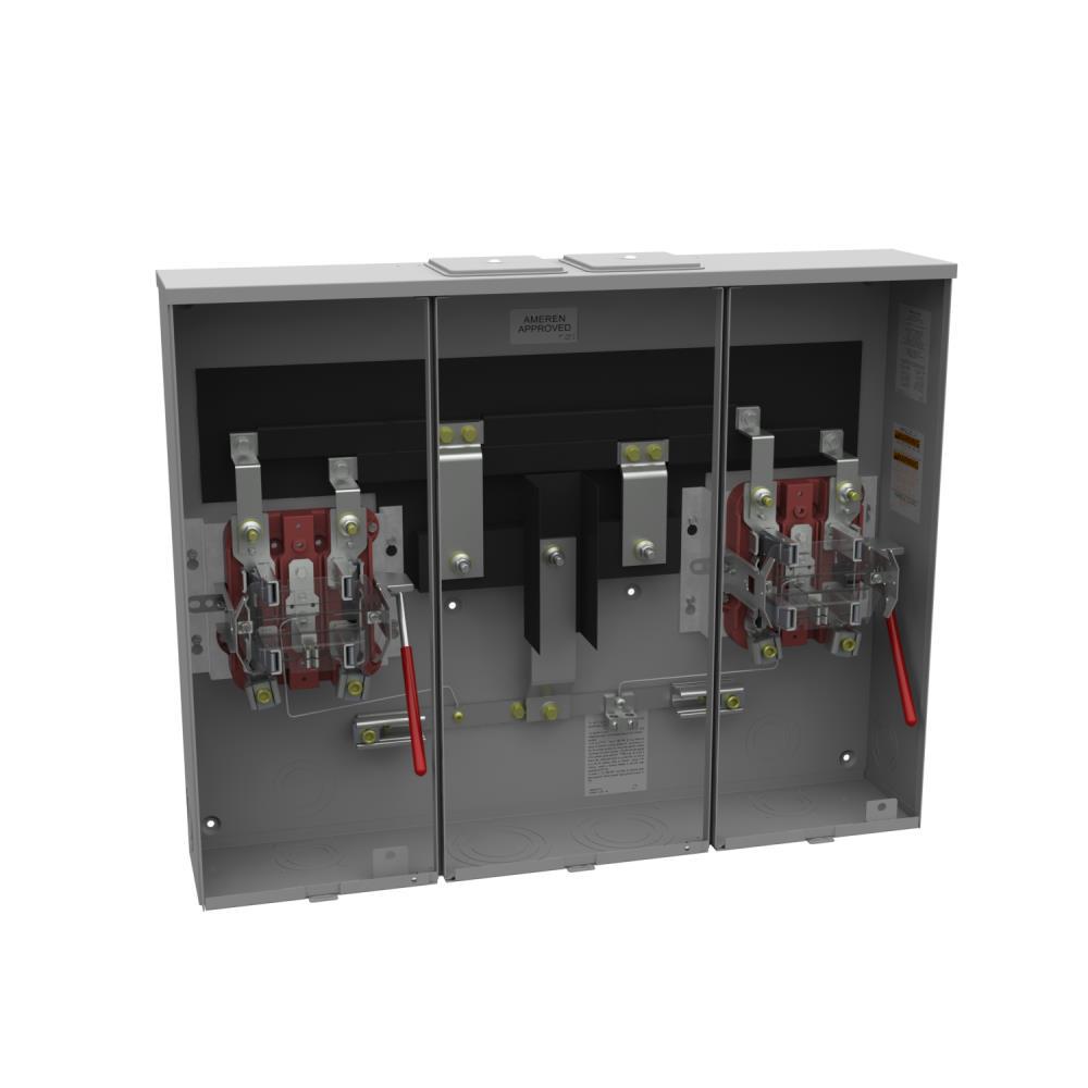 Ringless Meter Socket - 6L x 32.13W x25.25H - 200A - 5 Terminal - Twin Large Closing Plates