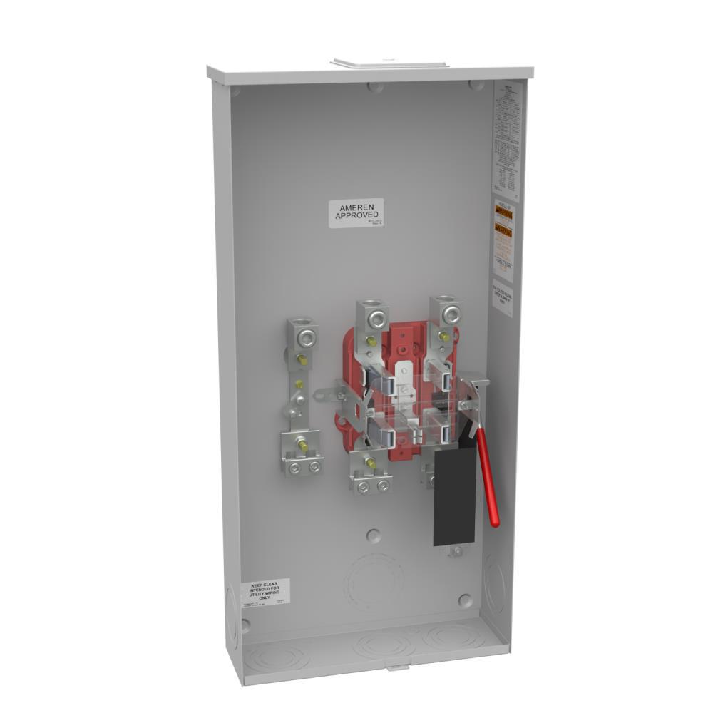 Ringless Meter Socket - 4.84L x 15W x31.69H - 320A - 5 Terminal - Large Closing Plate