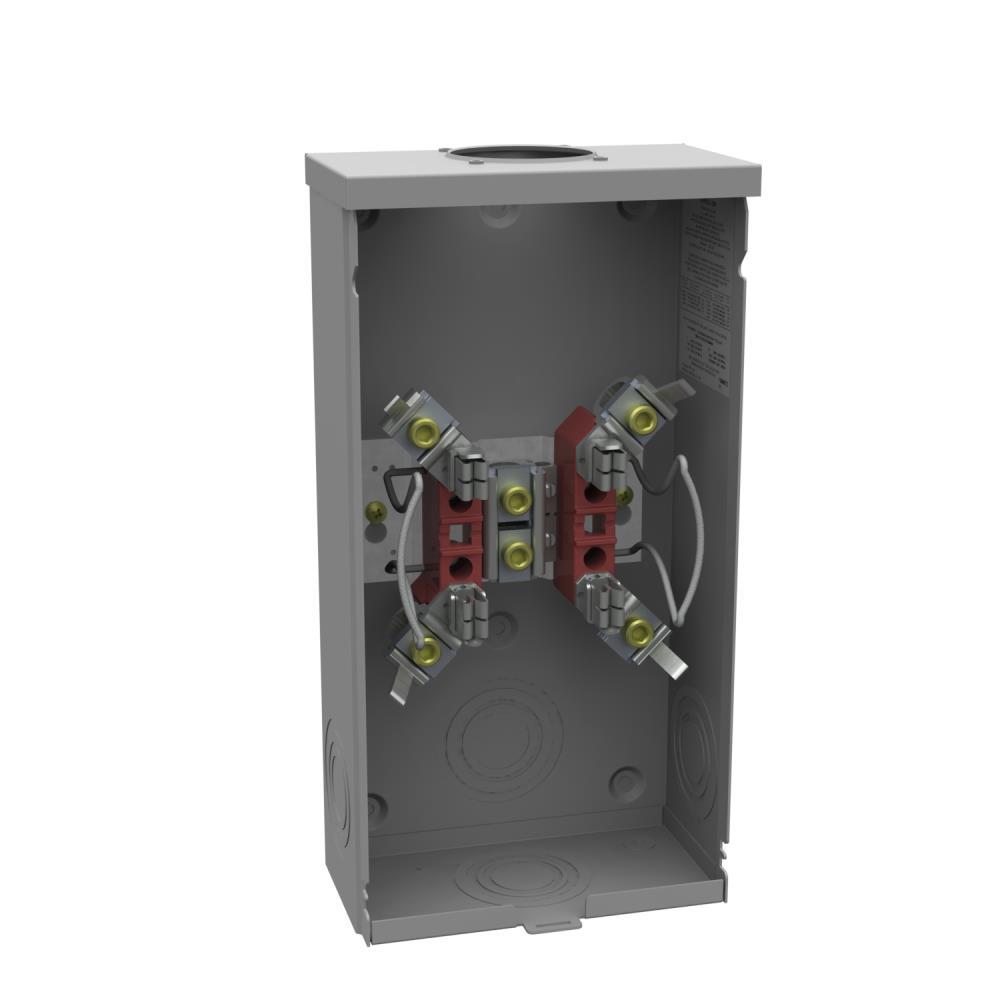 Ringless Meter Socket - 4.125L x 8W x15.5H - 200A - 4 Terminal - Small Hub Opening