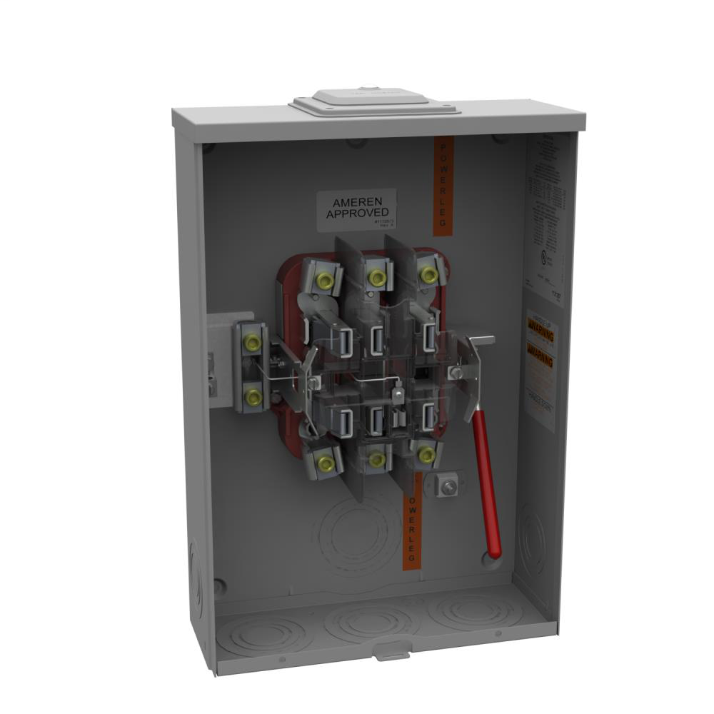 Ringless Meter Socket - 4.84L x 13W x19H - 200A - 7 Terminal - Large Hub Opening Adapted to Small Closing Plate