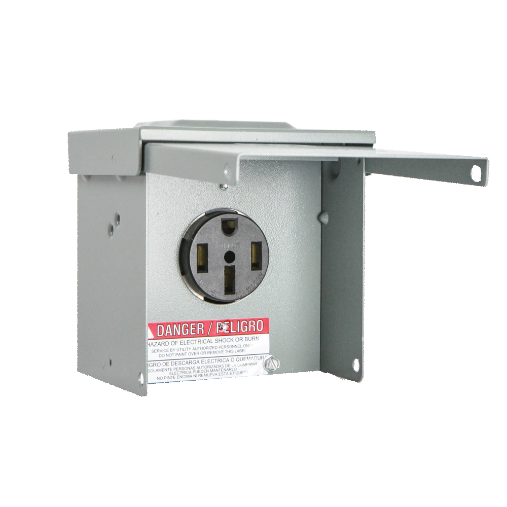 Milbank P-54 5-3/4 x 5-5/16 Inch Gray Painted Steel Size TT30 NEMA Surface Mount Receptacle Enclosure