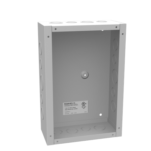 12x4X8 Screw Cover Type 1 UL Listed Steel Knockouts ANSI 61 Gray Cover With Teardrop Slots Mounting Holes In Back