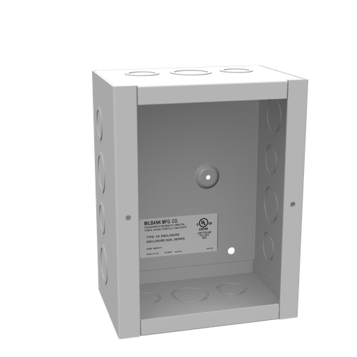 8x4X6 Screw Cover Type 1 UL Listed Steel Knockouts ANSI 61 Gray Cover With Teardrop Slots Mounting Holes In Back