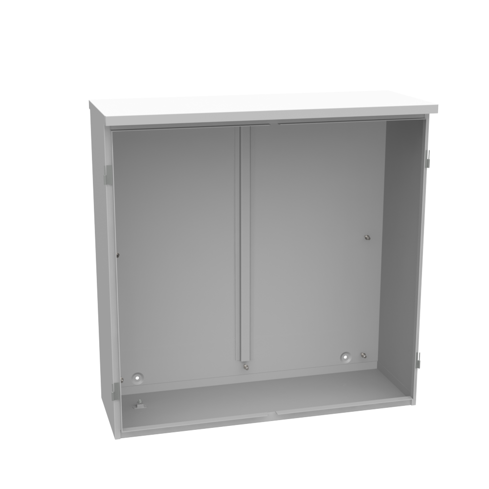 MILBANK 36x12x36 Hinge Cover Type 3R Steel No Knockouts ANSI 61 Gray Double Doors Padlocking 3 Point Handle Back Panel Weld Studs Draw Shield No Center Position