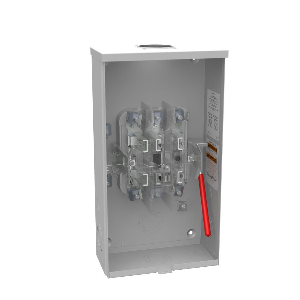 Milbank U7573-RL 600 VAC 125 Amp 7-Terminal 3-Phase 1-Position Overhead Ringless Meter Socket