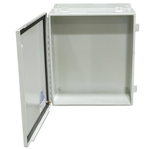 14X8x16 Hinge Cover Type 4 UL Listed Steel No Knockouts ANSI 61 Gray Continuous Hinge Clamps And Screws Gasket In Door Mounting Feet Back Panel Weld Studs