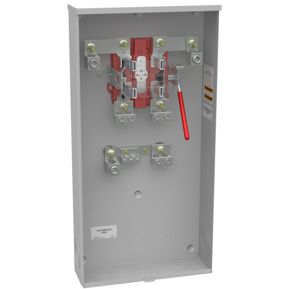 Milbank U1129-O-K3L-K2L 600 VAC 320 Amp 4-Terminal 1-Phase 1-Position Ringless Underground Meter Socket